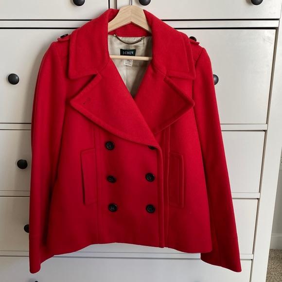 J Crew Maraschino Red Pea Wool Coat